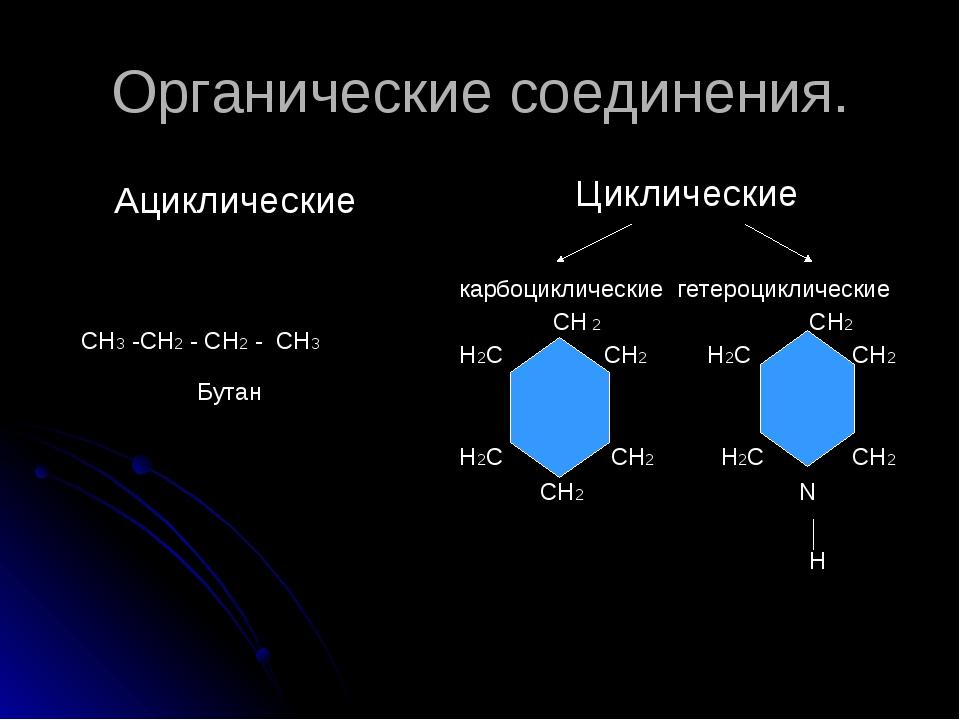 Органические соединения. Ациклические СН3 -СН2 - СН2 - СН3 Бутан Циклические...
