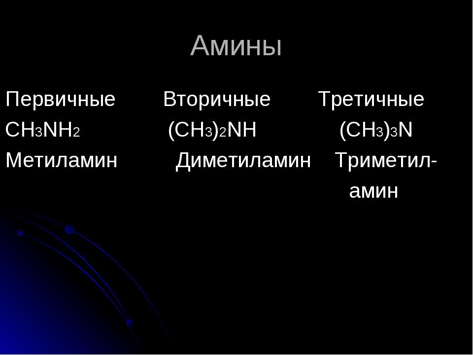 Амины Первичные Вторичные Третичные СН3NH2 (CH3)2NH (CH3)3N Метиламин Диметил...