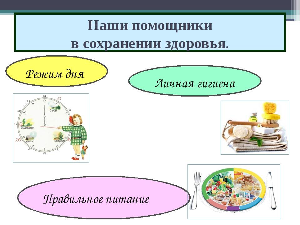 Наши помощники в сохранении здоровья. Режим дня Правильное питание Личная гиг...