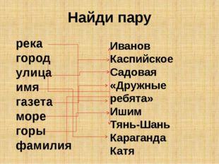 Найди пару река город улица имя газета море горы фамилия Иванов Каспийское Са