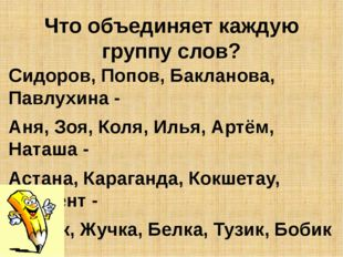Что объединяет каждую группу слов? Сидоров, Попов, Бакланова, Павлухина - Аня