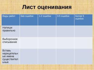 Лист оценивания Виды работ Без ошибок 1-2 ошибки 3-5 ошибок Более 5 ошибок На