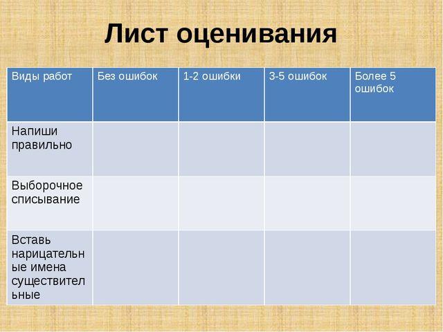 Лист оценивания Виды работ Без ошибок 1-2 ошибки 3-5 ошибок Более 5 ошибок На...