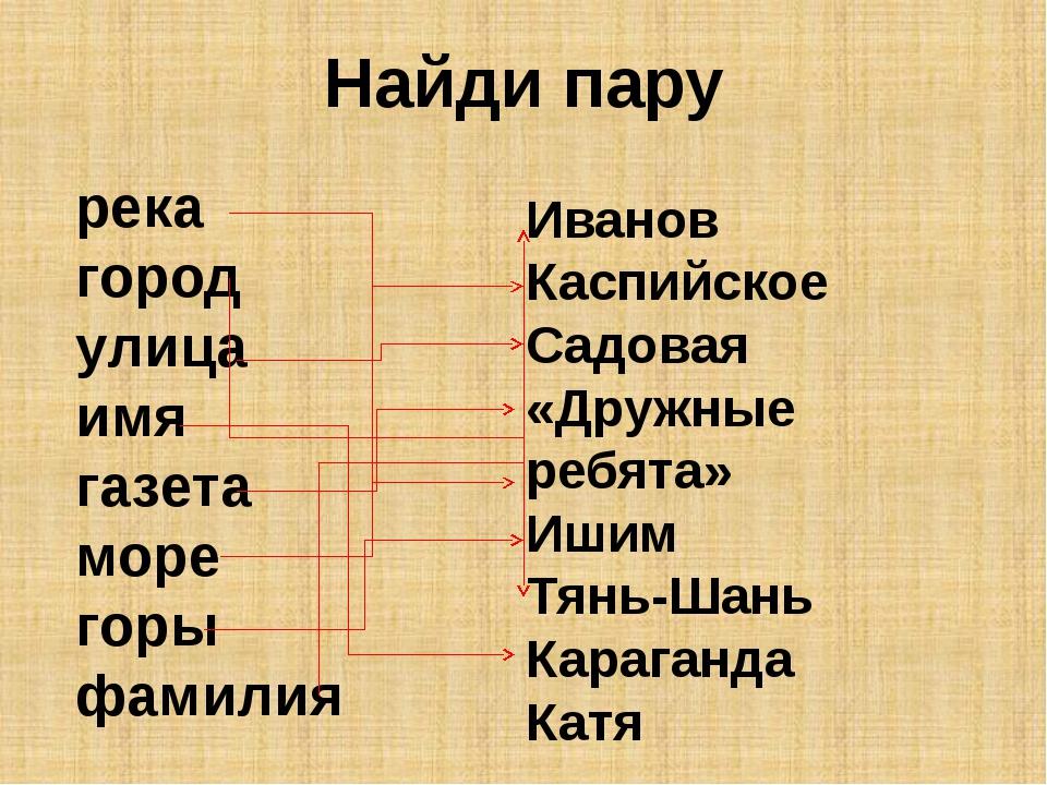 Найди пару река город улица имя газета море горы фамилия Иванов Каспийское Са...