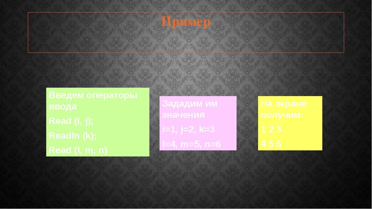 Пример Зададим им значения i=1, j=2, k=3 l=4, m=5, n=6 Введем операторы ввода...