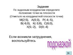 Задание По заданным координатам определите положение точки на плоскости (Отм