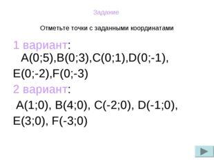 Задание Отметьте точки с заданными координатами 1 вариант: А(0;5),В(0;3),С(0;