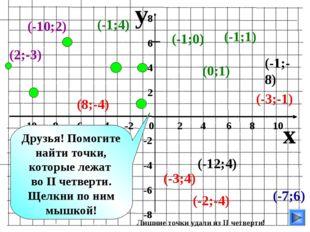 y x -10 -8 -6 -4 -2 0 2 4 6 8 10 8 6 4 2 -2 -4 -6 -8 (-7;6) (-10;2) (-1;4) (-