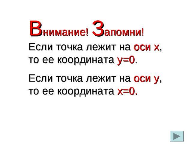 Внимание! Запомни! Если точка лежит на оси х, то ее координата у=0. Если точк...