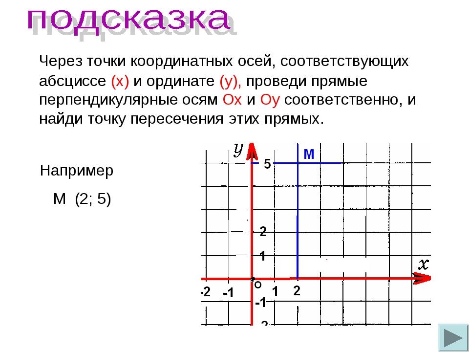 Через точки координатных осей, соответствующих абсциссе (х) и ординате (у),...