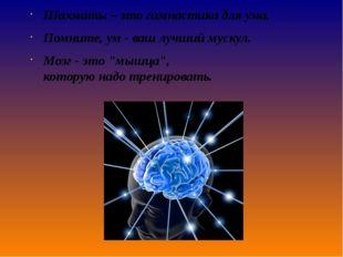 Шахматы – этогимнастикадля ума. Помните,ум- ваш лучший мускул. Мозг- э
