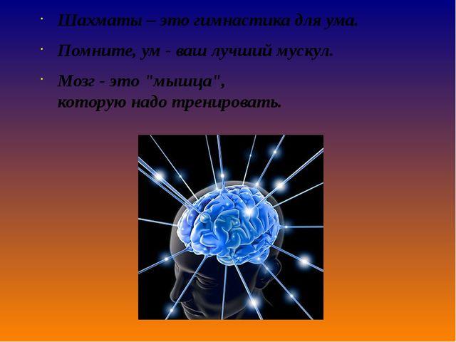 Шахматы – этогимнастикадля ума. Помните,ум- ваш лучший мускул. Мозг- э...
