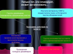 Только тот, кто планирует, может организовать… Программа действий по проекту