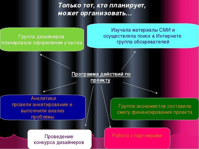 Только тот, кто планирует, может организовать… Программа действий по проекту...