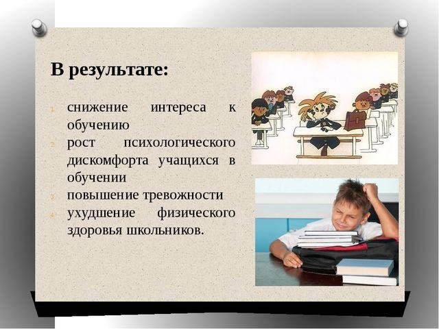 В результате: снижение интереса к обучению рост психологического дискомфорта...