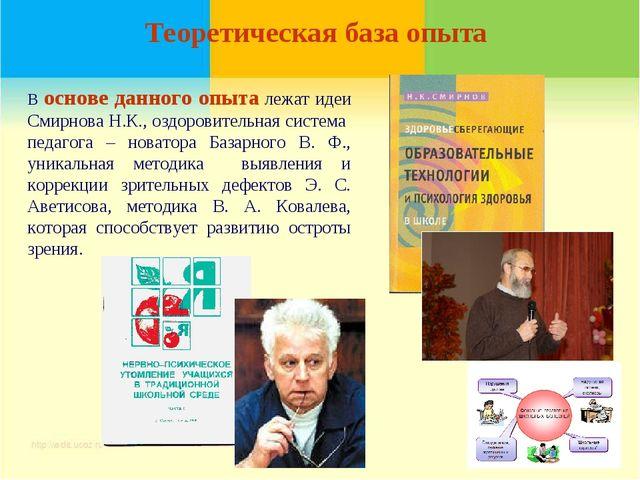 Теоретическая база опыта В основе данного опыта лежат идеи Смирнова Н.К., озд...