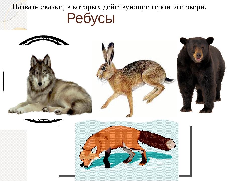 Ребусы Назвать сказки, в которых действующие герои эти звери.