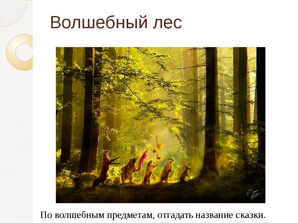 Волшебный лес По волшебным предметам, отгадать название сказки.