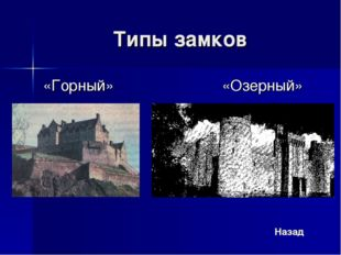 Типы замков «Горный» «Озерный» Назад