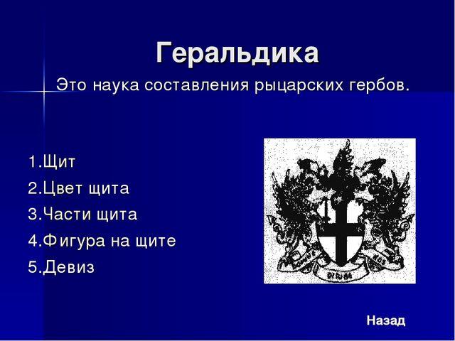 Геральдика Это наука составления рыцарских гербов. 1.Щит 2.Цвет щита 3.Части...