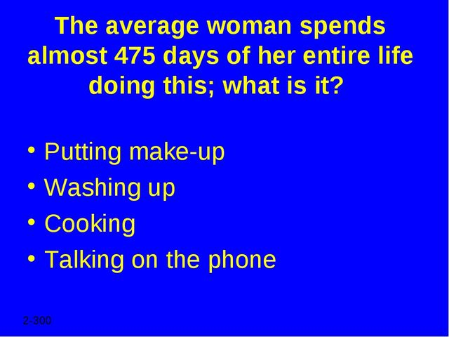 The average woman spends almost 475 days of her entire life doing this; what...