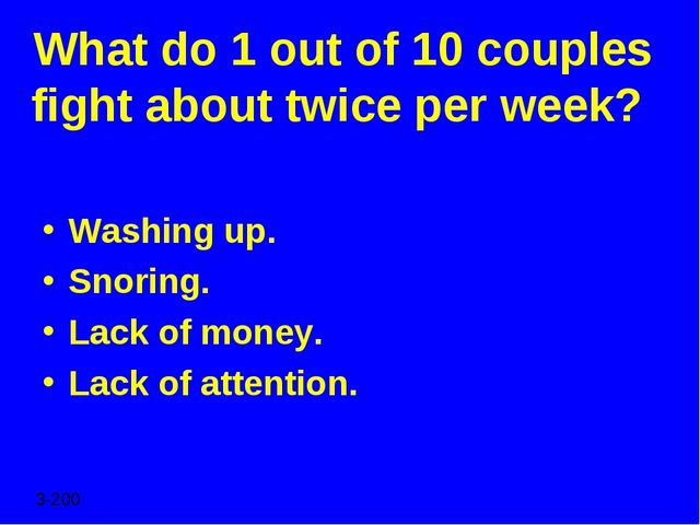 What do 1 out of 10 couples fight about twice per week? Washing up. Snoring....