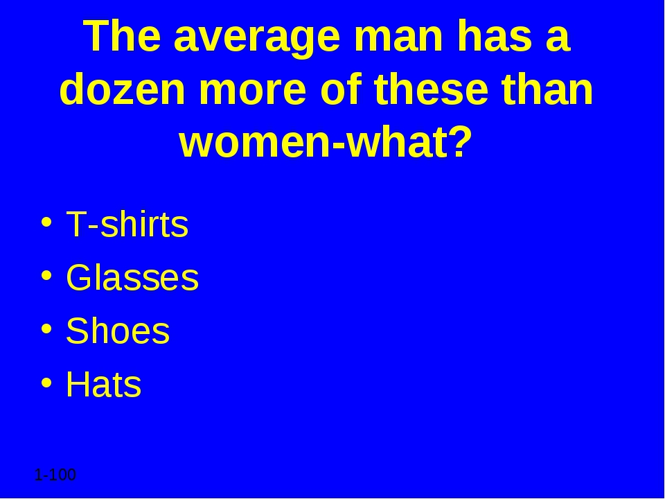 The average man has a dozen more of these than women-what? T-shirts Glasses S...