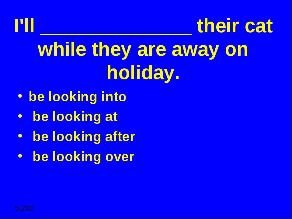 I'll ______________ their cat while they are away on holiday. be looking into...