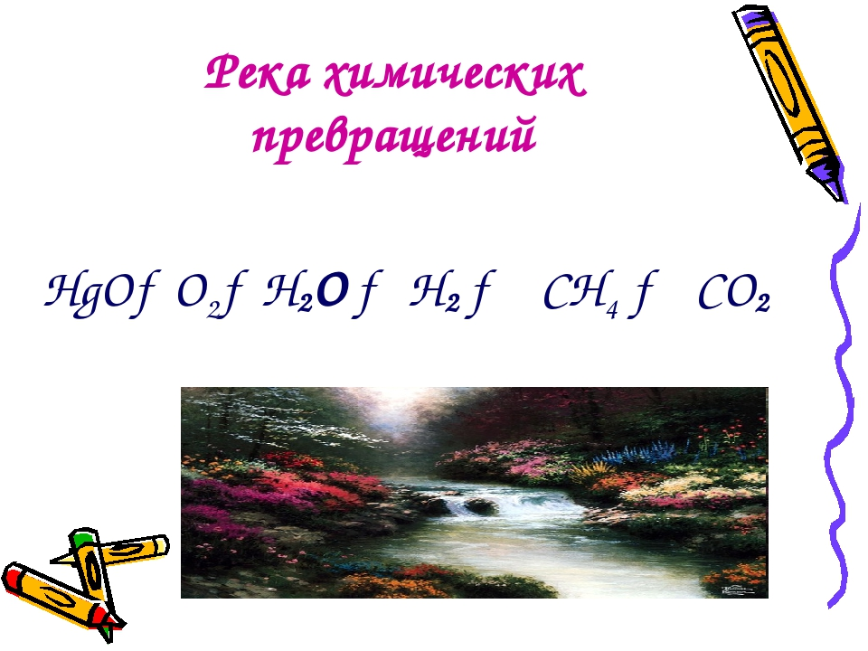 Река химических превращений НgО→O2→H2O → H2 → CH4 → CO2