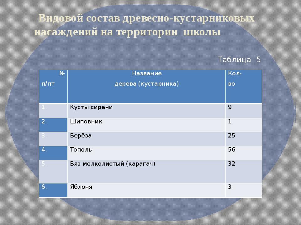 Видовой состав древесно-кустарниковых насаждений на территории школы Таблица...