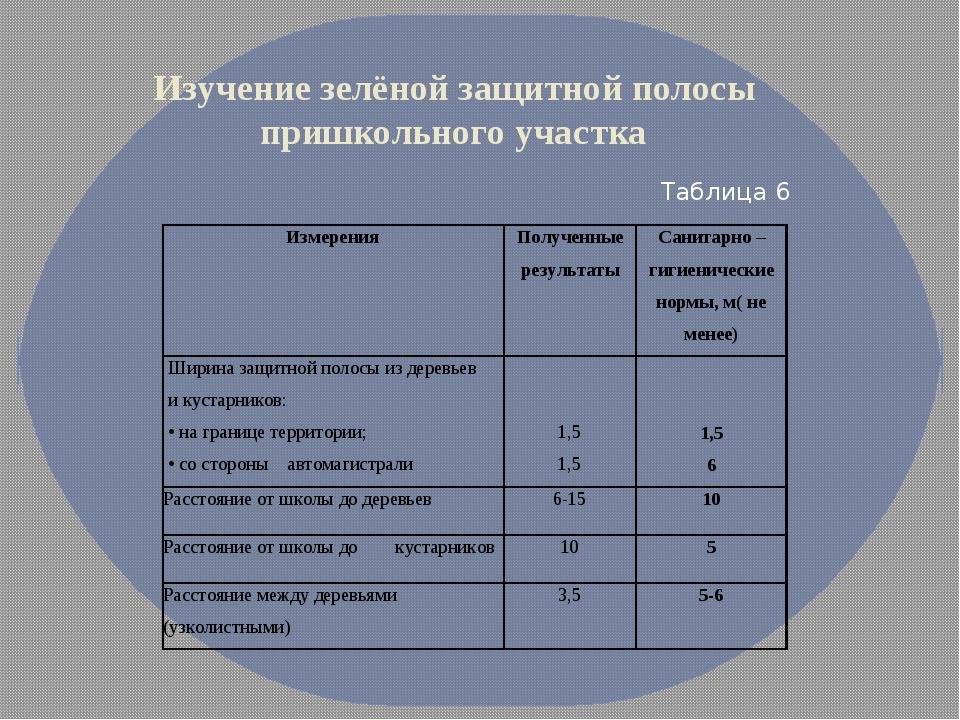 Изучение зелёной защитной полосы пришкольного участка Таблица 6