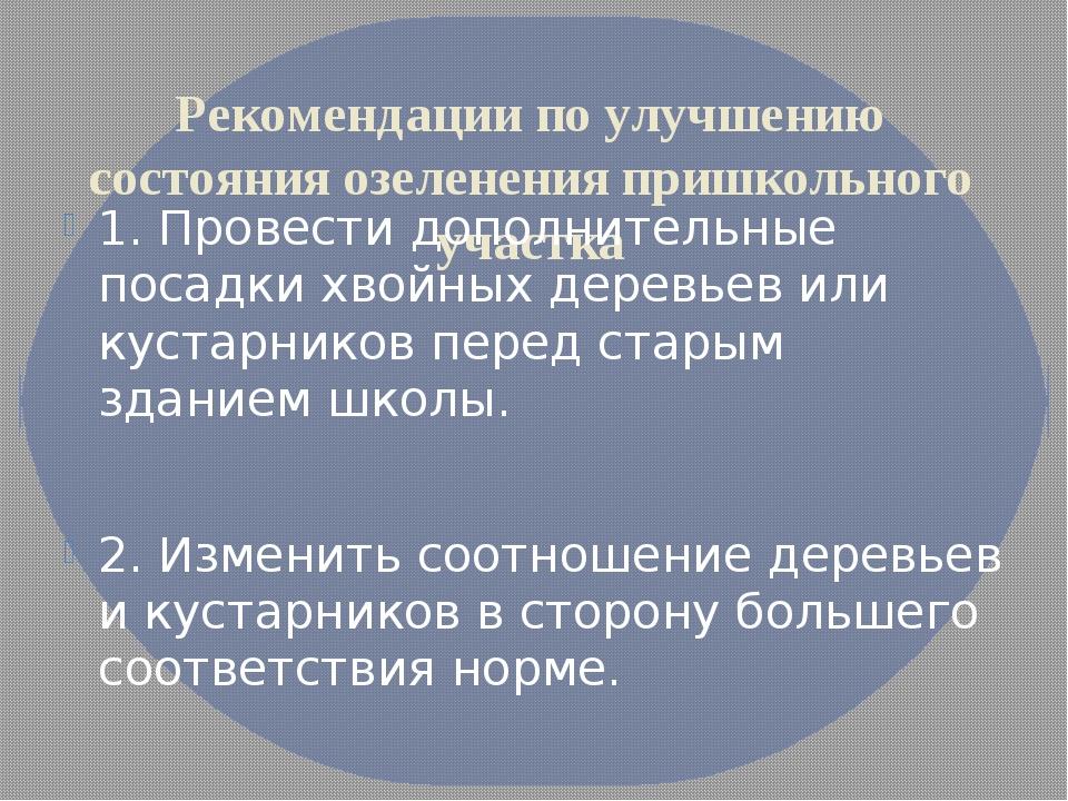 Рекомендации по улучшению состояния озеленения пришкольного участка 1. Провес...