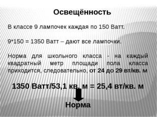 Освещённость В классе 9 лампочек каждая по 150 Ватт. 9*150 = 1350 Ватт – дают