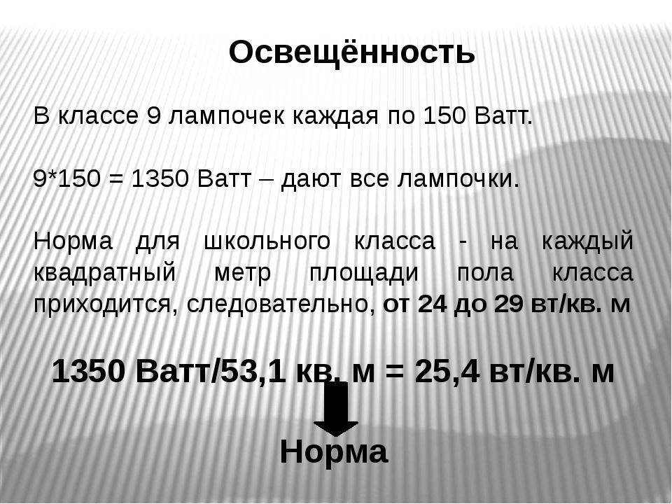 Освещённость В классе 9 лампочек каждая по 150 Ватт. 9*150 = 1350 Ватт – дают...