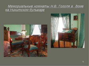 * Мемориальные комнаты Н.В. Гоголя в доме на Никитском бульваре