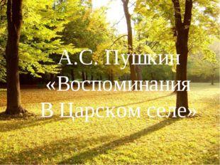 А.С. Пушкин «Воспоминания В Царском селе»