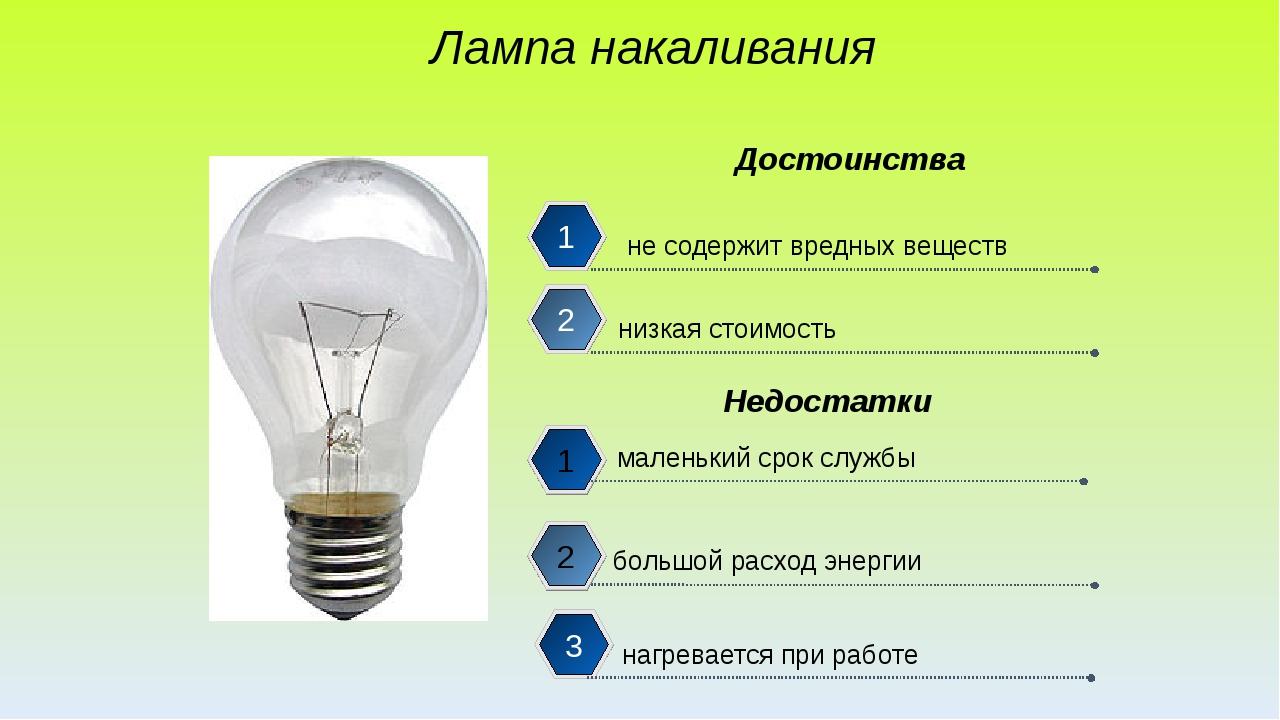 Лампа накаливания не содержит вредных веществ низкая стоимость маленький сро...