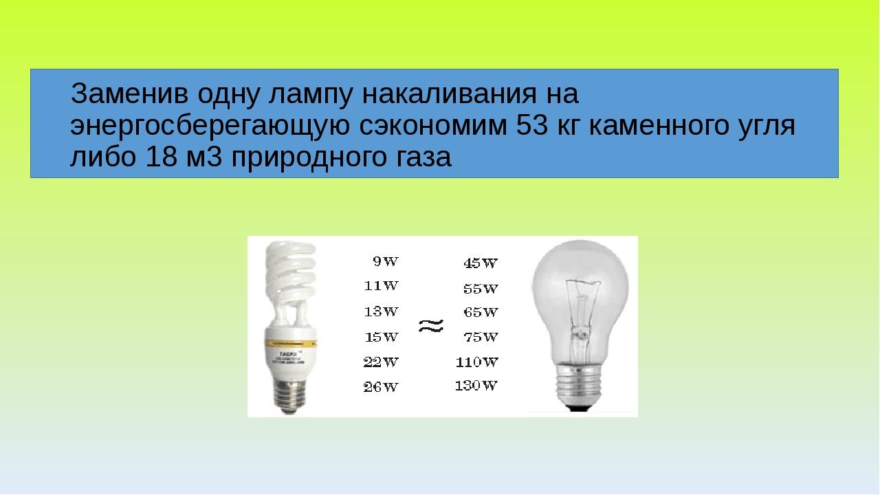 Заменив одну лампу накаливания на энергосберегающую сэкономим 53 кг каменног...