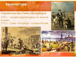 Архитектура Строительство Санкт-Петербурга 1703 г. - заложен первый камень на