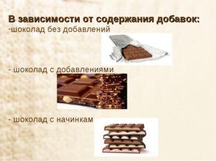 В зависимости от содержания добавок: шоколад без добавлений - шоколад с добав