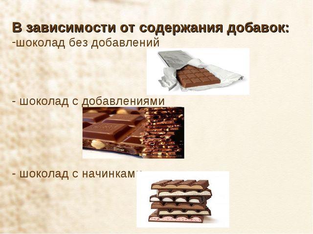 В зависимости от содержания добавок: шоколад без добавлений - шоколад с добав...