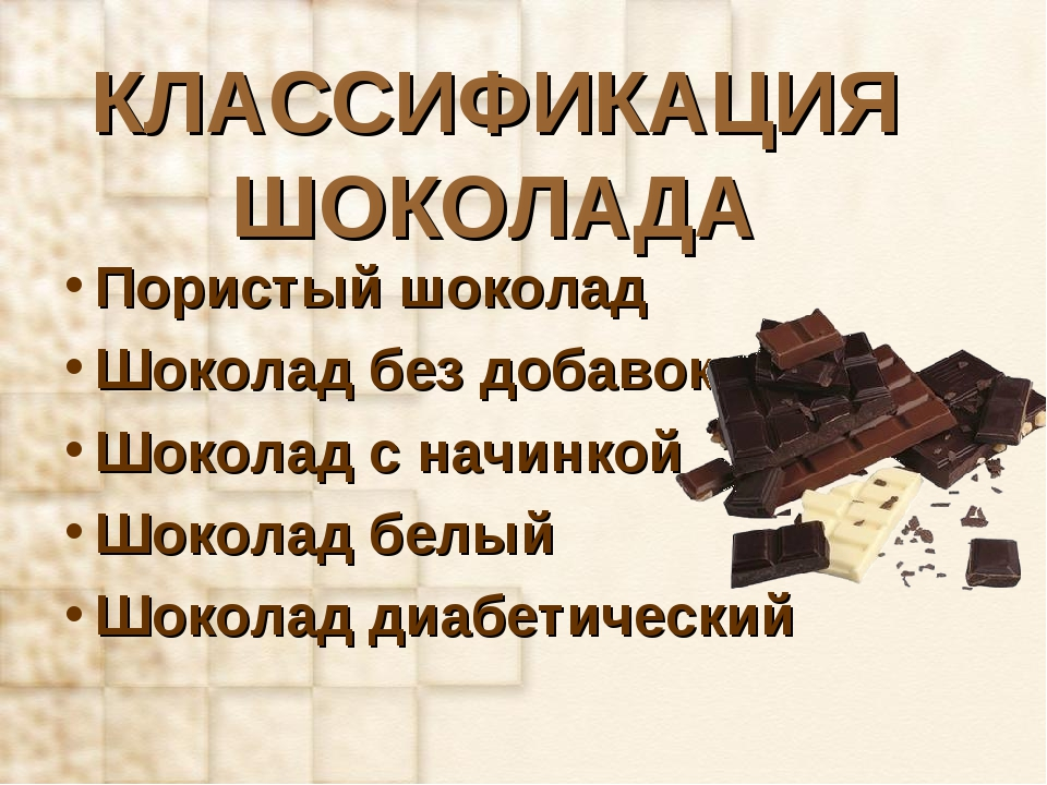 КЛАССИФИКАЦИЯ ШОКОЛАДА Пористый шоколад Шоколад без добавок Шоколад с начинко...