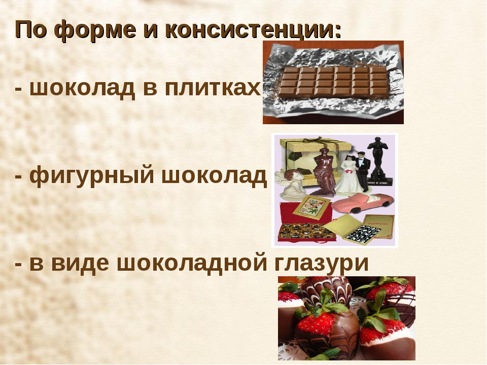 По форме и консистенции: - шоколад в плитках - фигурный шоколад - в виде шоко...