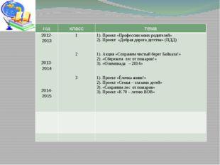 Социально значимые проекты класса за 3 года год класс тема 2012-2013 2013-20