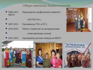 Общественная деятельность 2006-2015Председатель профсоюзного комитета МБОУ «