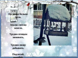 На дворе белым-бело, Землю снегом замело. Трудно птицам зимовать, Трудно пищ