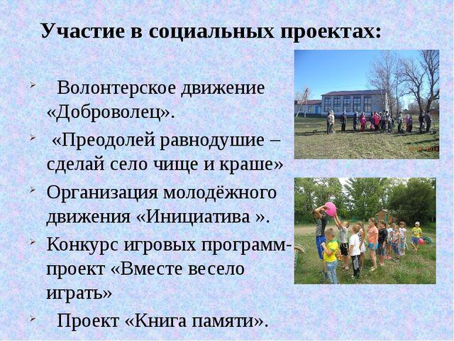 Волонтерское движение «Доброволец». «Преодолей равнодушие – сделай село чище...