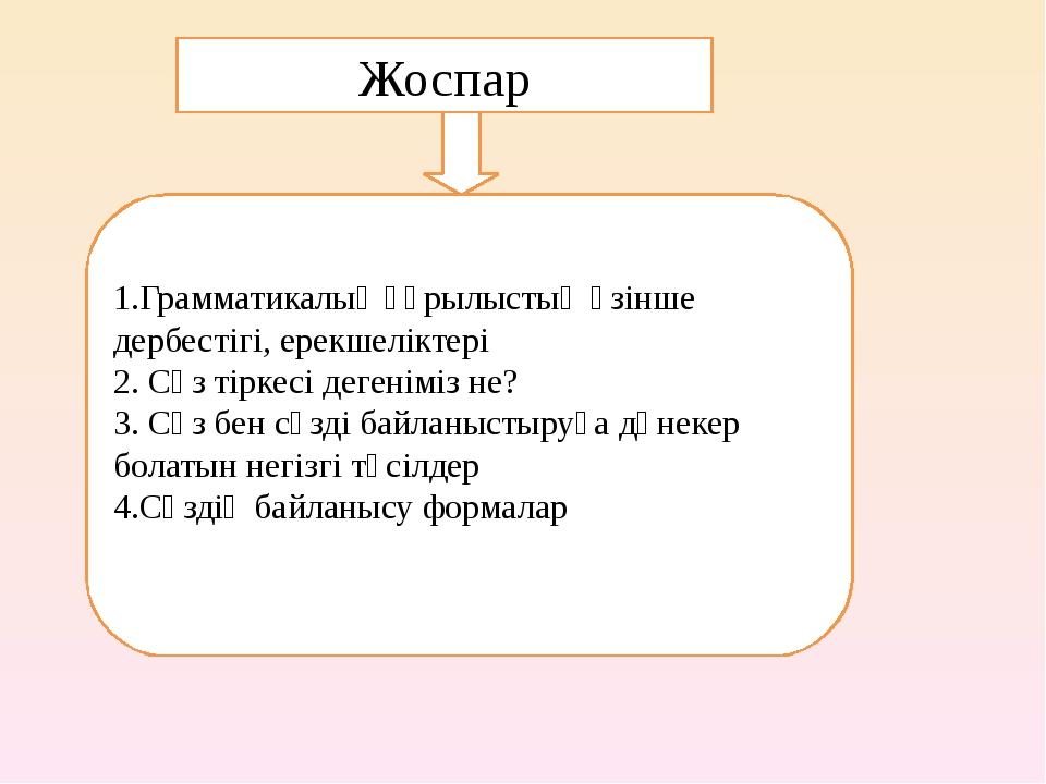 Жоспар 1.Грамматикалық құрылыстың өзінше дербестігі, ерекшеліктері 2. Сөз тір...