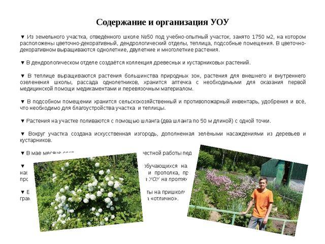 Содержание и организация УОУ ▼ Из земельного участка, отведённого школе №50 п...