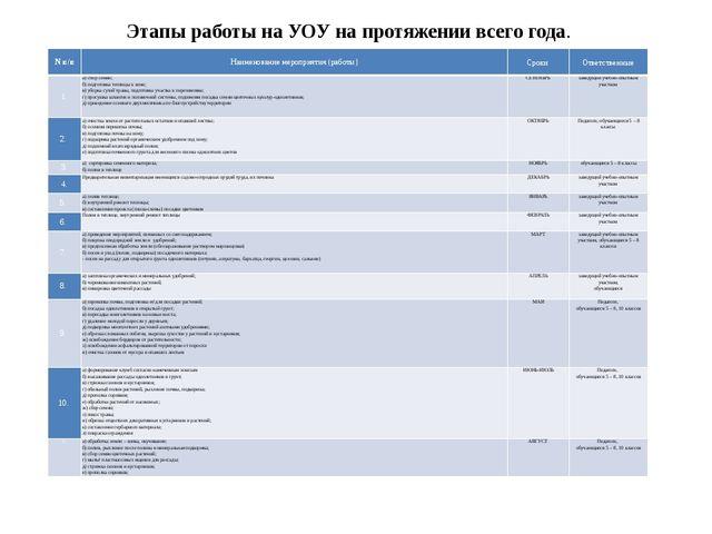 Этапы работы на УОУ на протяжении всего года. Nп/п Наименование мероприятия (...